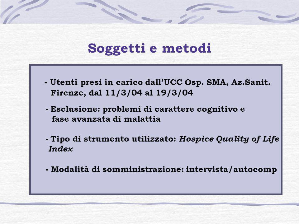 Soggetti e metodi - Utenti presi in carico dall'UCC Osp. SMA, Az.Sanit. Firenze, dal 11/3/04 al 19/3/04.