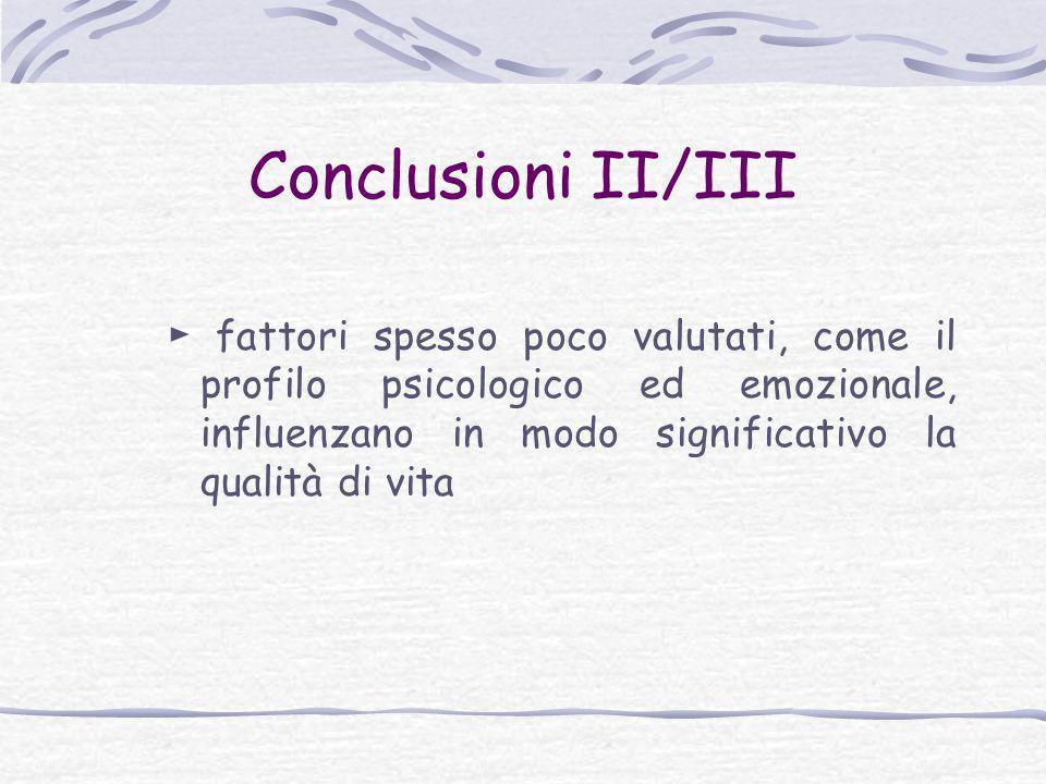 Conclusioni II/III ► fattori spesso poco valutati, come il profilo psicologico ed emozionale, influenzano in modo significativo la qualità di vita.