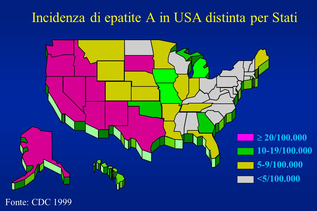 Incidenza di epatite A in USA distinta per Stati