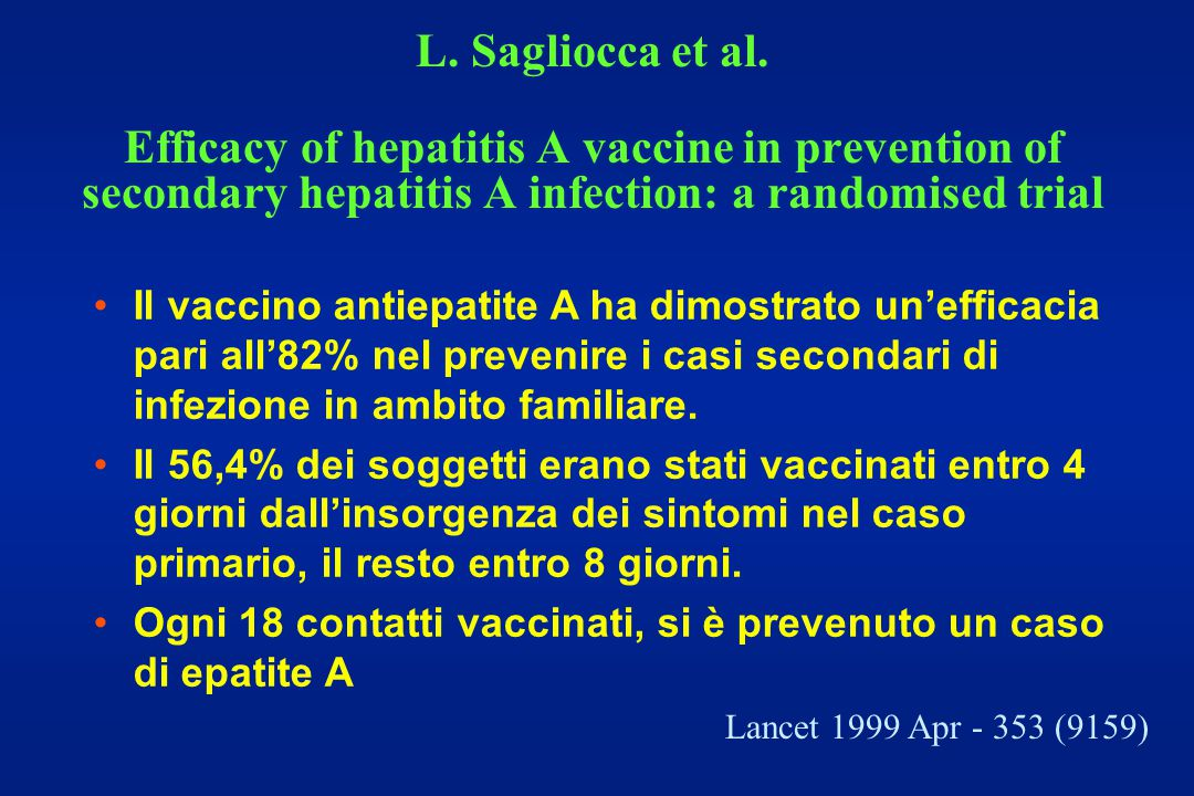 L. Sagliocca et al. Efficacy of hepatitis A vaccine in prevention of secondary hepatitis A infection: a randomised trial
