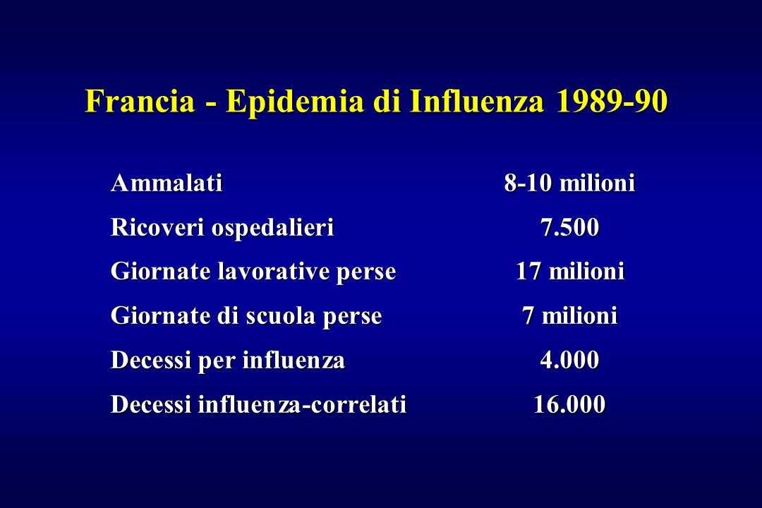 Francia - Epidemia di Influenza 1989-90