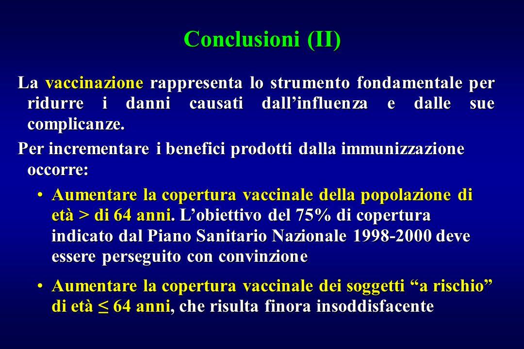 Conclusioni (II) La vaccinazione rappresenta lo strumento fondamentale per ridurre i danni causati dall'influenza e dalle sue complicanze.