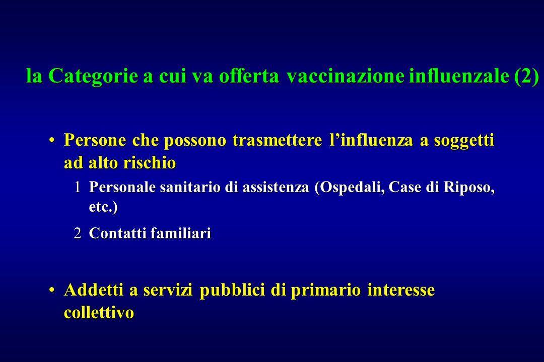 la Categorie a cui va offerta vaccinazione influenzale (2)