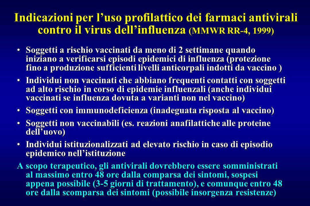 Indicazioni per l'uso profilattico dei farmaci antivirali contro il virus dell'influenza (MMWR RR-4, 1999)