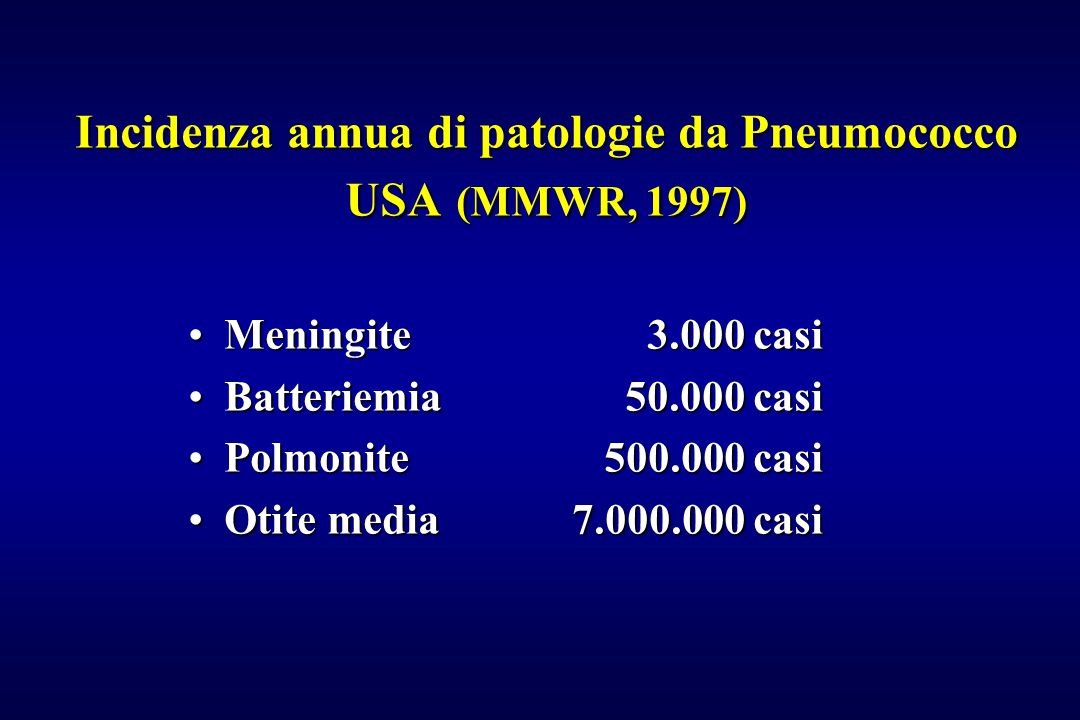 Incidenza annua di patologie da Pneumococco USA (MMWR, 1997)