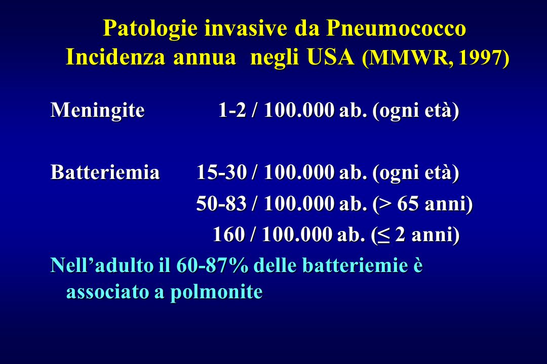 Patologie invasive da Pneumococco Incidenza annua negli USA (MMWR, 1997)
