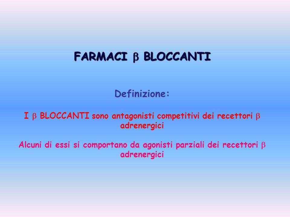 I  BLOCCANTI sono antagonisti competitivi dei recettori  adrenergici