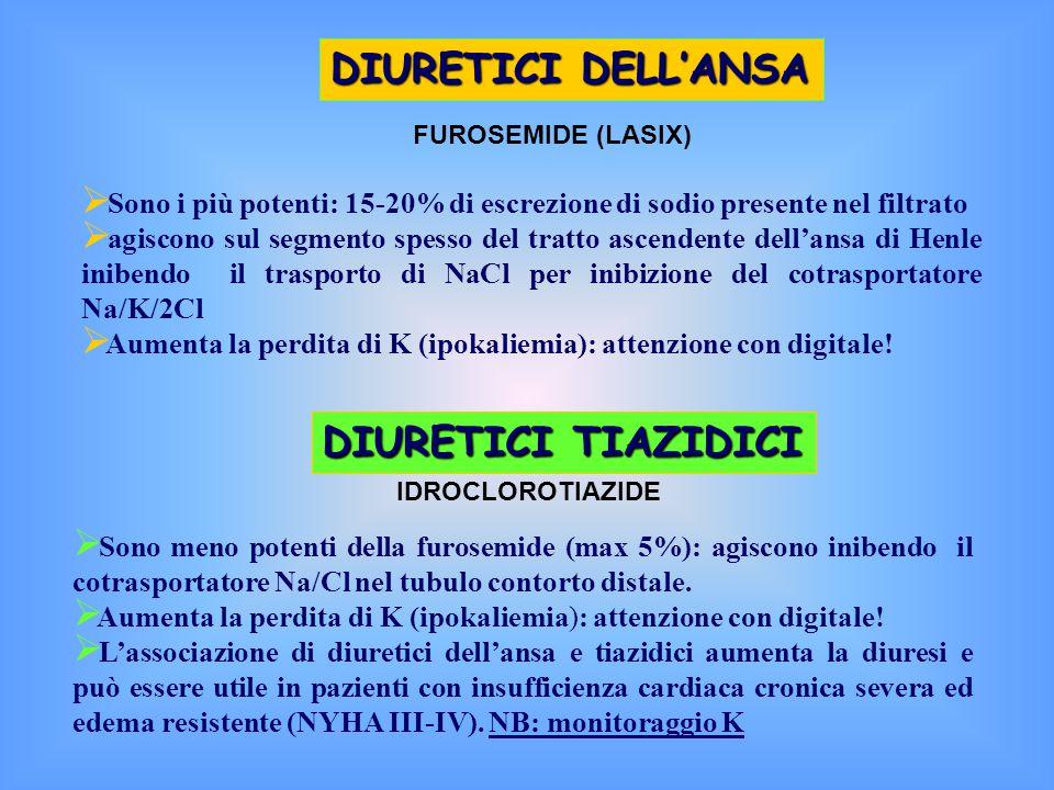 DIURETICI DELL'ANSA DIURETICI TIAZIDICI