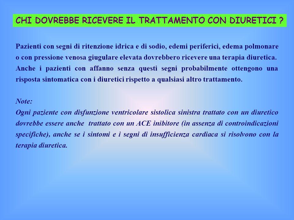 CHI DOVREBBE RICEVERE IL TRATTAMENTO CON DIURETICI