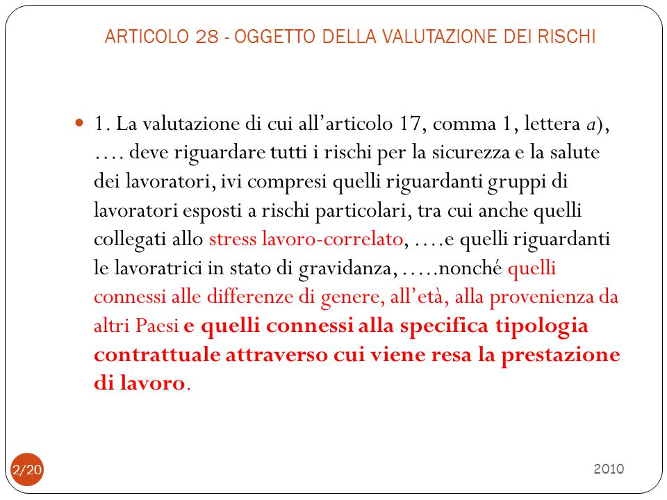 ARTICOLO 28 - OGGETTO DELLA VALUTAZIONE DEI RISCHI