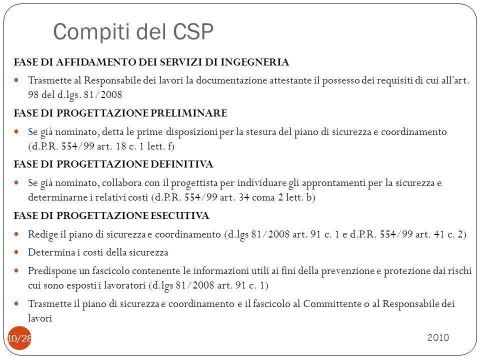 Compiti del CSP FASE DI AFFIDAMENTO DEI SERVIZI DI INGEGNERIA