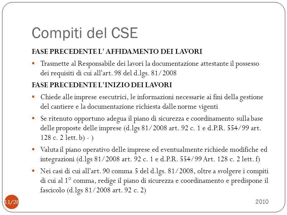 Compiti del CSE FASE PRECEDENTE L AFFIDAMENTO DEI LAVORI