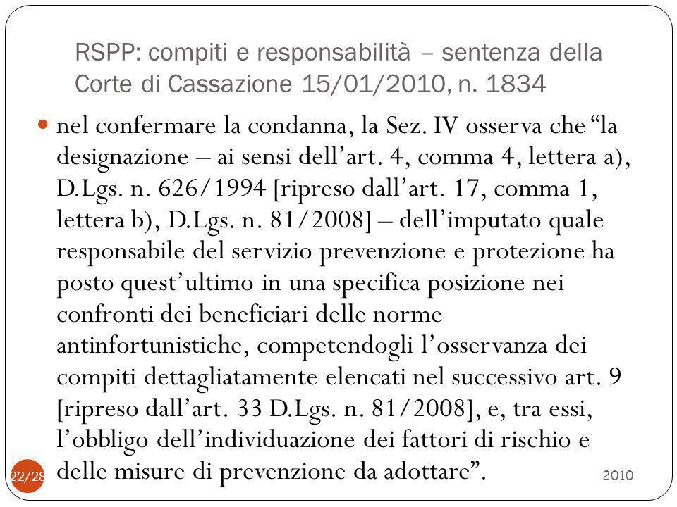 RSPP: compiti e responsabilità – sentenza della Corte di Cassazione 15/01/2010, n. 1834