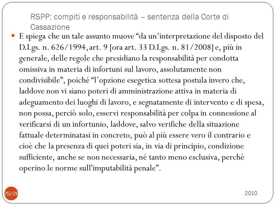 RSPP: compiti e responsabilità – sentenza della Corte di Cassazione