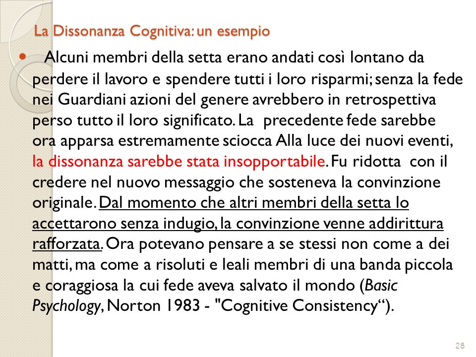 La Dissonanza Cognitiva: un esempio
