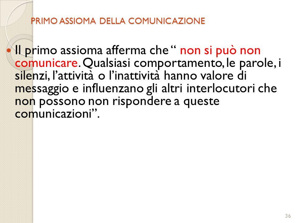 PRIMO ASSIOMA DELLA COMUNICAZIONE