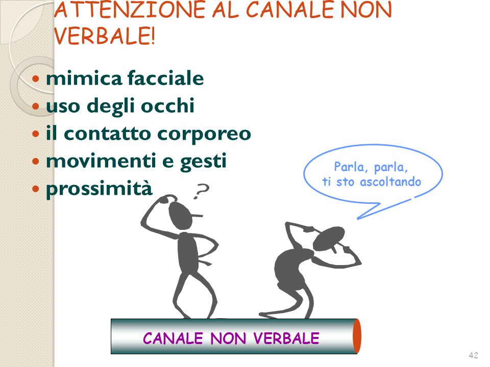 ATTENZIONE AL CANALE NON VERBALE!