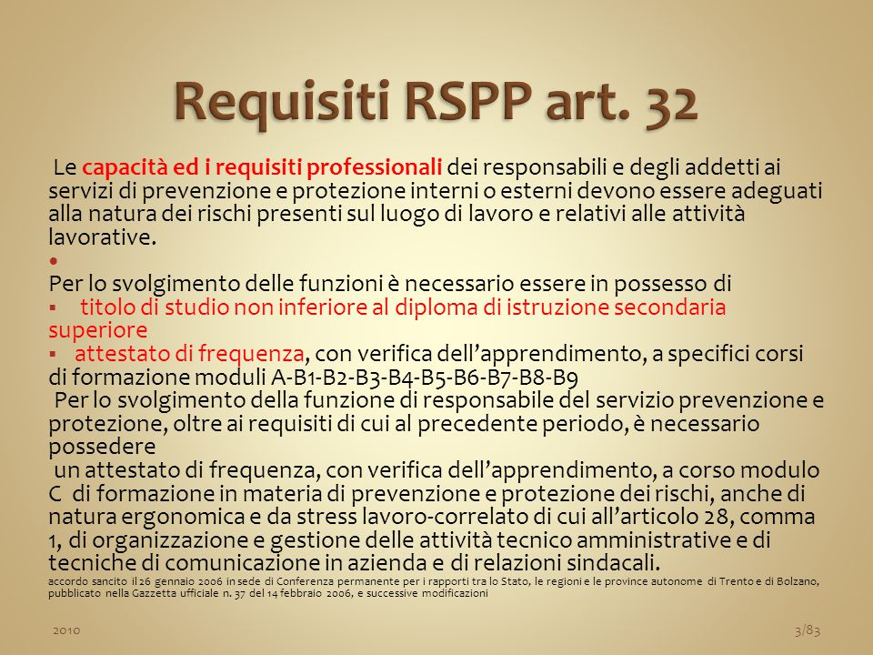 Requisiti RSPP art. 32
