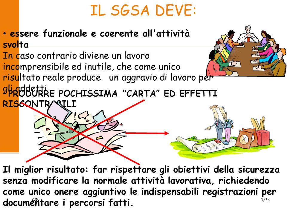 IL SGSA DEVE: essere funzionale e coerente all attività svolta