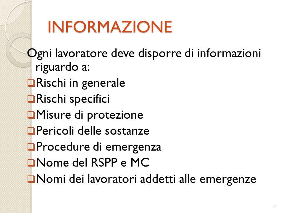 INFORMAZIONE Ogni lavoratore deve disporre di informazioni riguardo a: