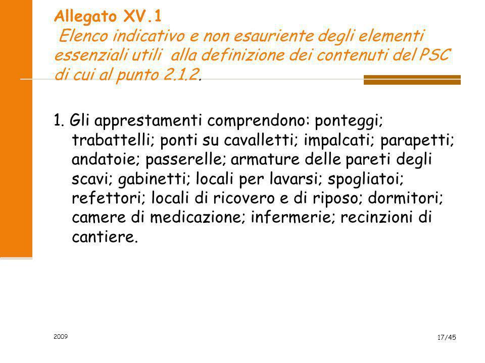 Allegato XV.1 Elenco indicativo e non esauriente degli elementi essenziali utili alla definizione dei contenuti del PSC di cui al punto 2.1.2.
