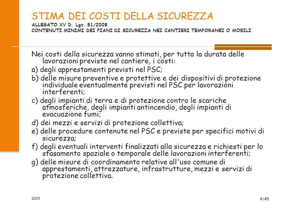 STIMA DEI COSTI DELLA SICUREZZA ALLEGATO XV D. Lgs