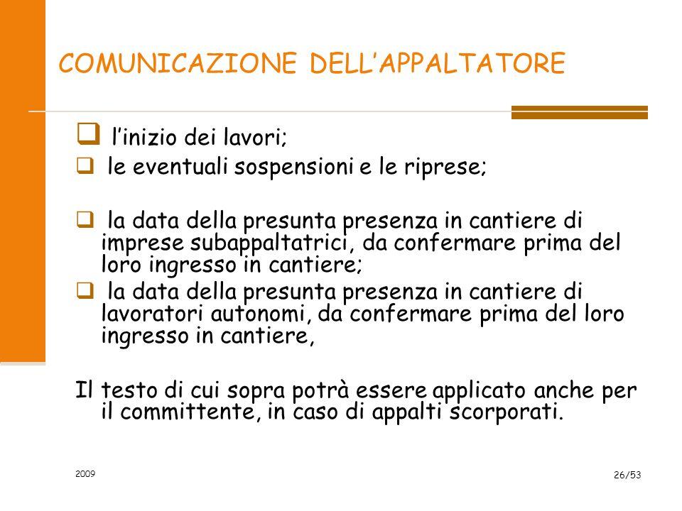 COMUNICAZIONE DELL'APPALTATORE