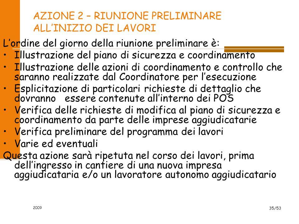 AZIONE 2 – RIUNIONE PRELIMINARE ALL'INIZIO DEI LAVORI