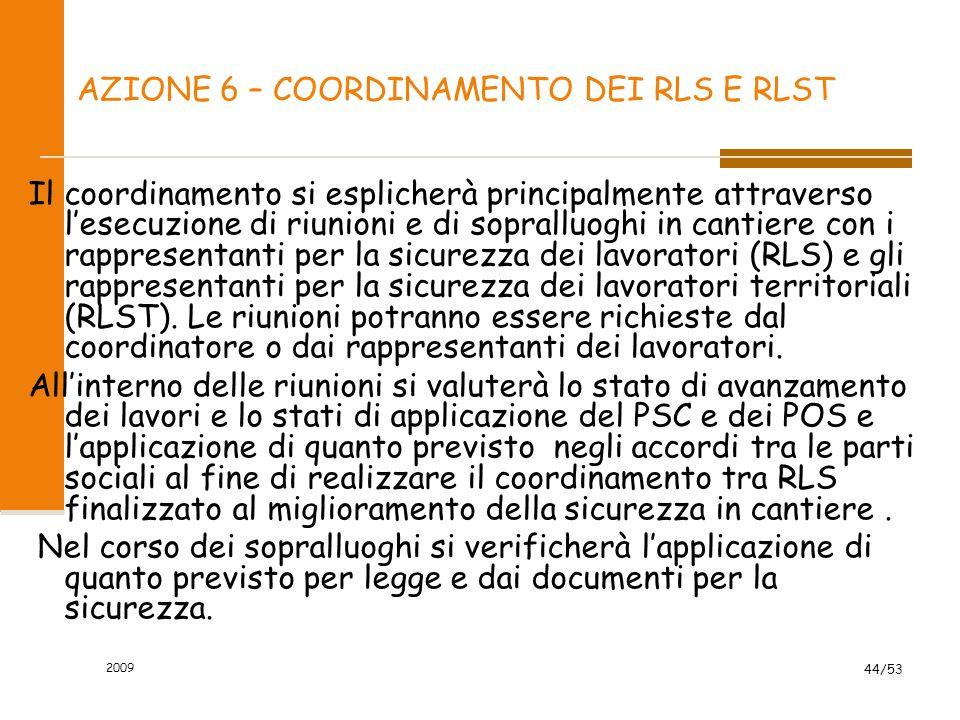 AZIONE 6 – COORDINAMENTO DEI RLS E RLST