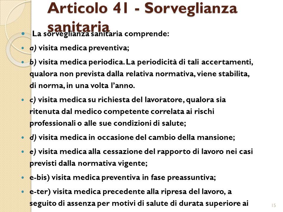 Articolo 41 - Sorveglianza sanitaria