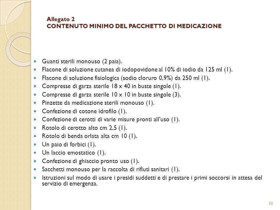 Allegato 2 CONTENUTO MINIMO DEL PACCHETTO DI MEDICAZIONE