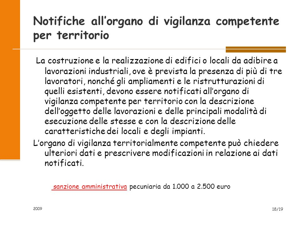 Notifiche all'organo di vigilanza competente per territorio