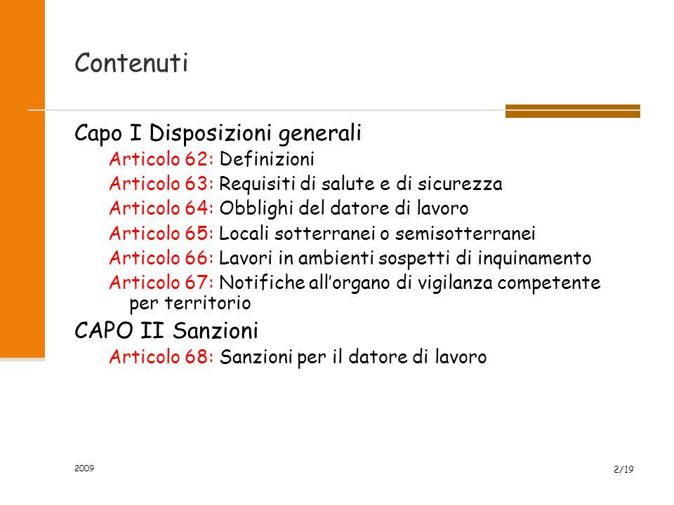 Contenuti Capo I Disposizioni generali CAPO II Sanzioni