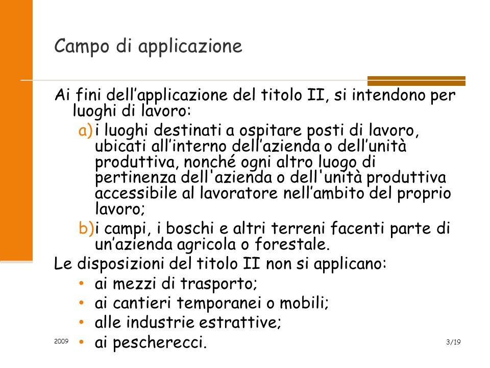 Campo di applicazione Ai fini dell'applicazione del titolo II, si intendono per luoghi di lavoro: