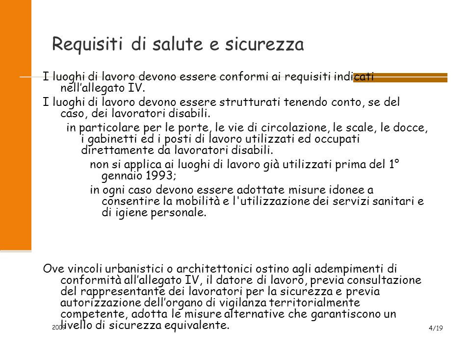 Requisiti di salute e sicurezza