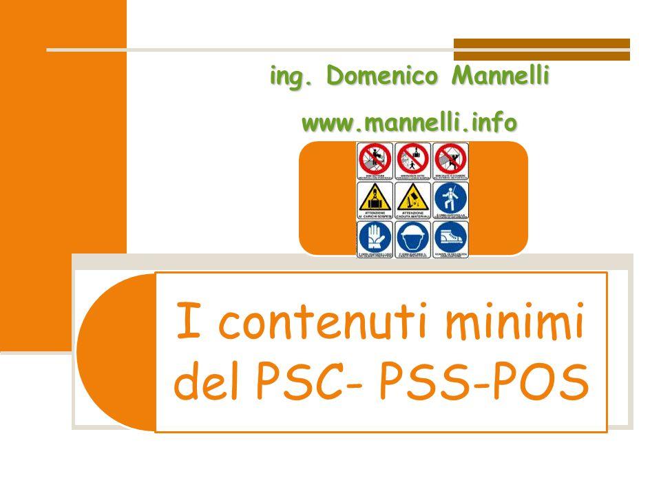 I contenuti minimi del PSC- PSS-POS