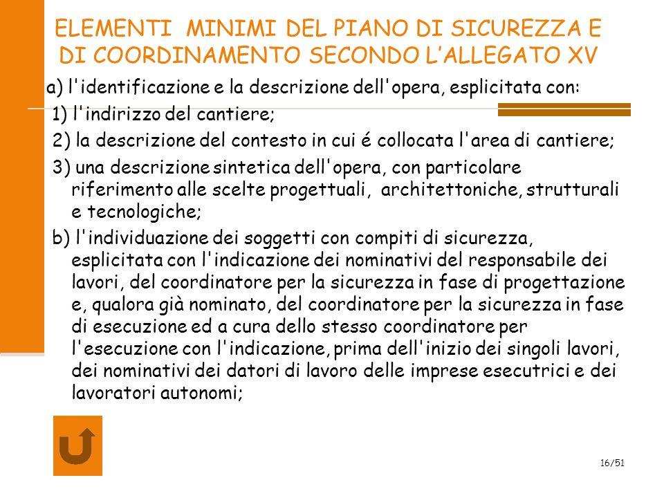 ELEMENTI MINIMI DEL PIANO DI SICUREZZA E DI COORDINAMENTO SECONDO L'ALLEGATO XV
