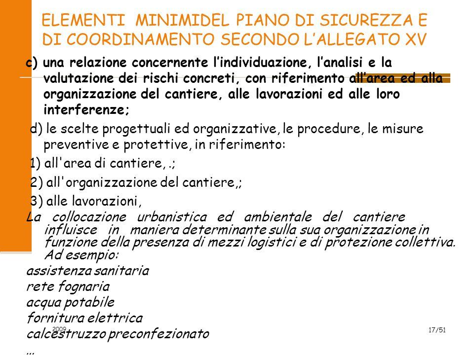 ELEMENTI MINIMIDEL PIANO DI SICUREZZA E DI COORDINAMENTO SECONDO L'ALLEGATO XV