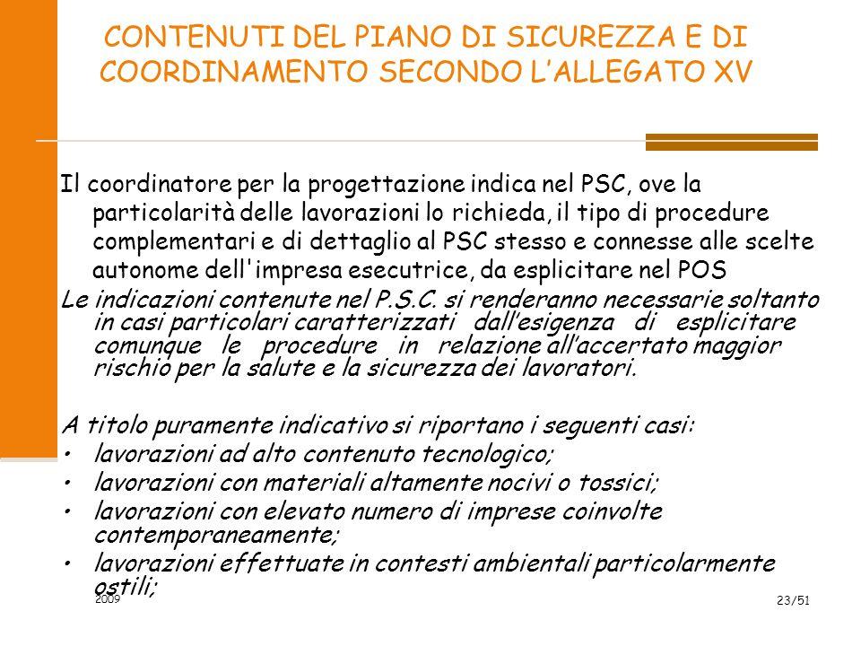 CONTENUTI DEL PIANO DI SICUREZZA E DI COORDINAMENTO SECONDO L'ALLEGATO XV