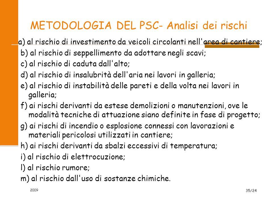 METODOLOGIA DEL PSC- Analisi dei rischi