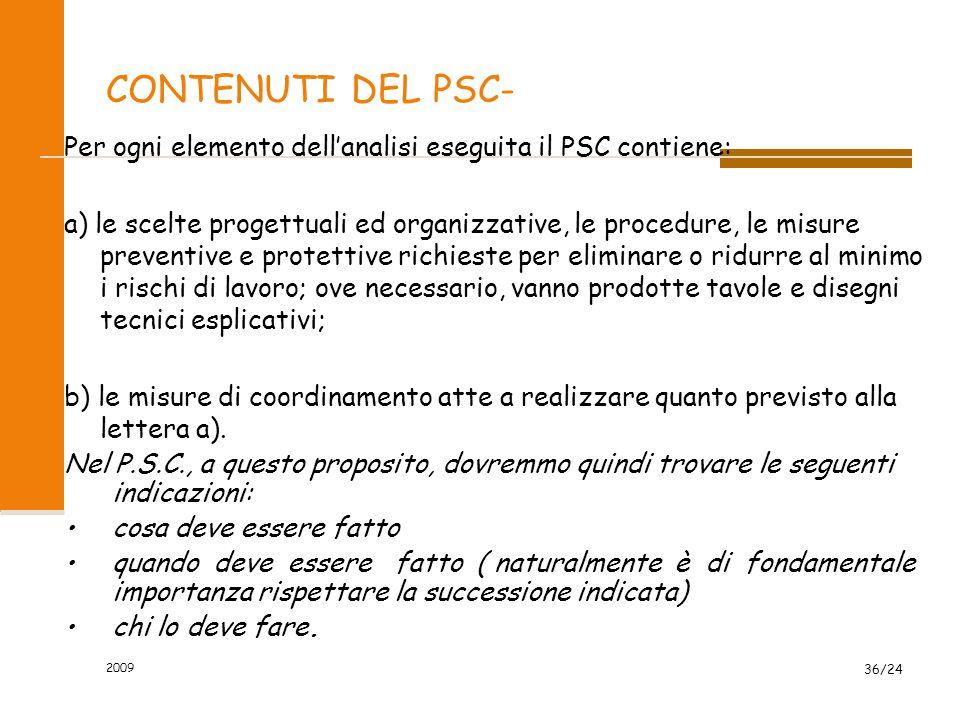 CONTENUTI DEL PSC-