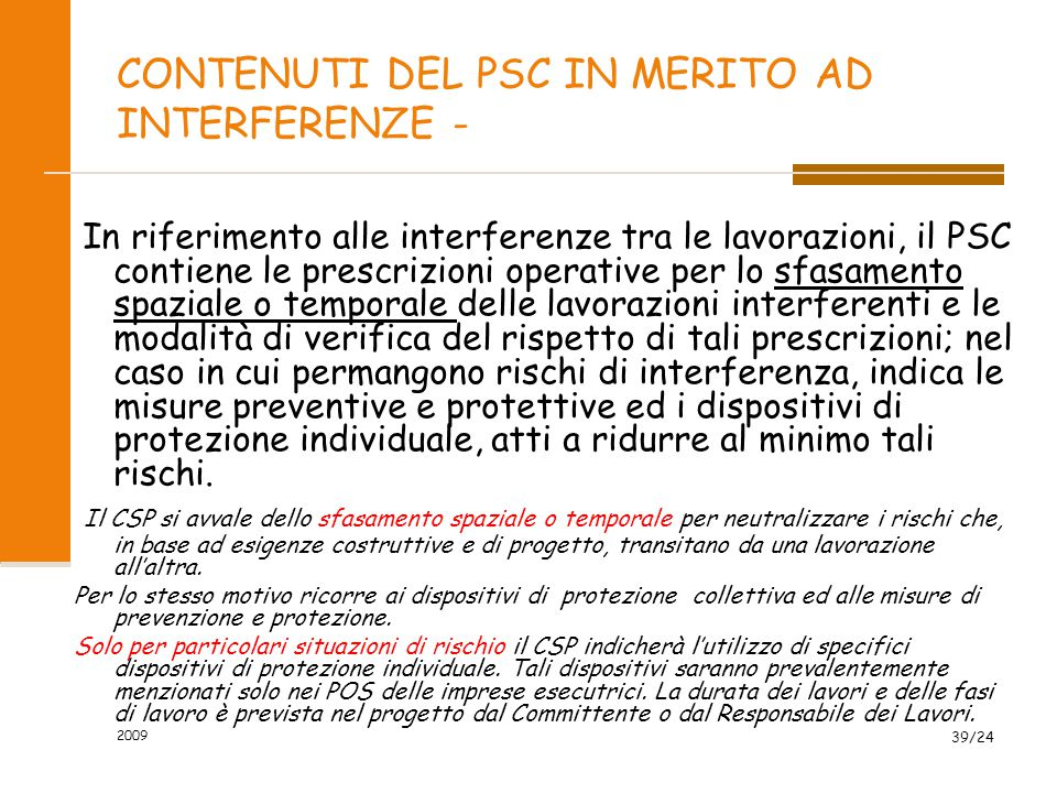 CONTENUTI DEL PSC IN MERITO AD INTERFERENZE -
