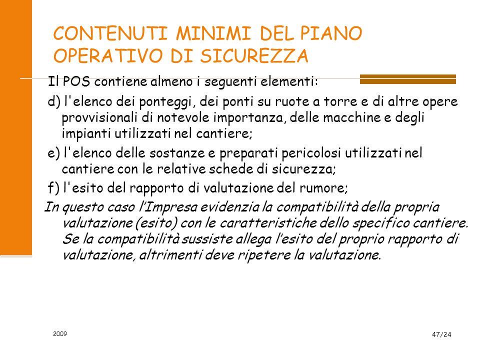 CONTENUTI MINIMI DEL PIANO OPERATIVO DI SICUREZZA
