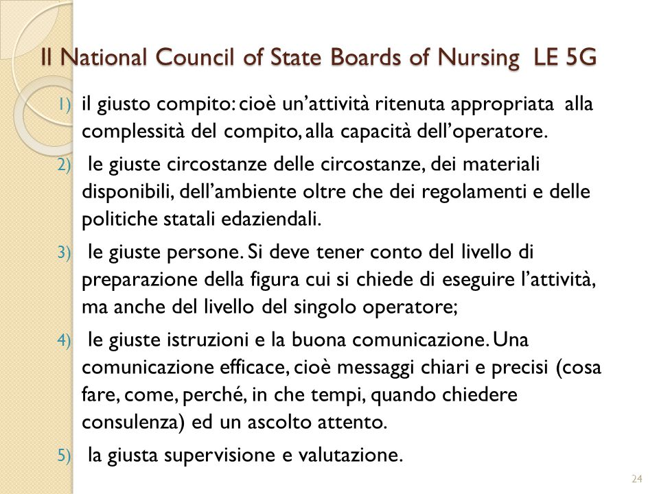 Il National Council of State Boards of Nursing LE 5G