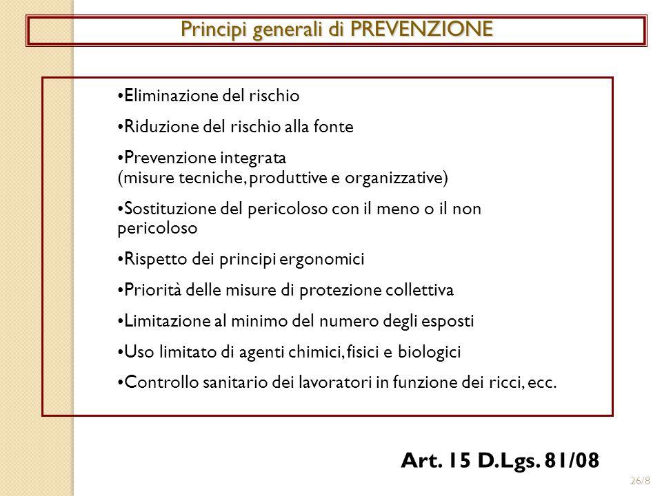 Principi generali di PREVENZIONE