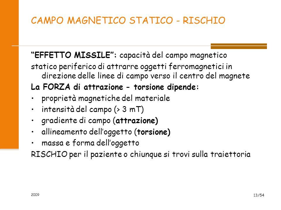 CAMPO MAGNETICO STATICO - RISCHIO