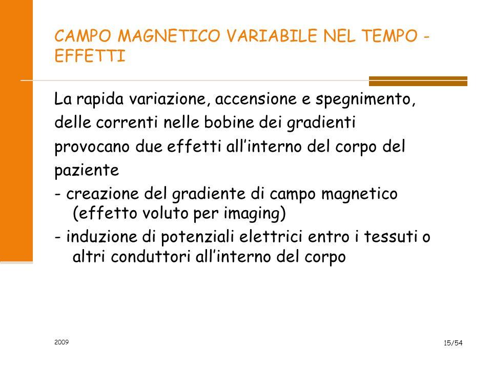 CAMPO MAGNETICO VARIABILE NEL TEMPO - EFFETTI