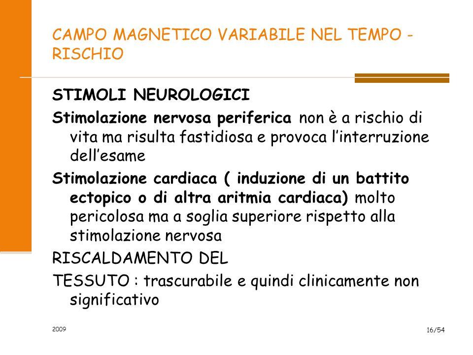 CAMPO MAGNETICO VARIABILE NEL TEMPO - RISCHIO