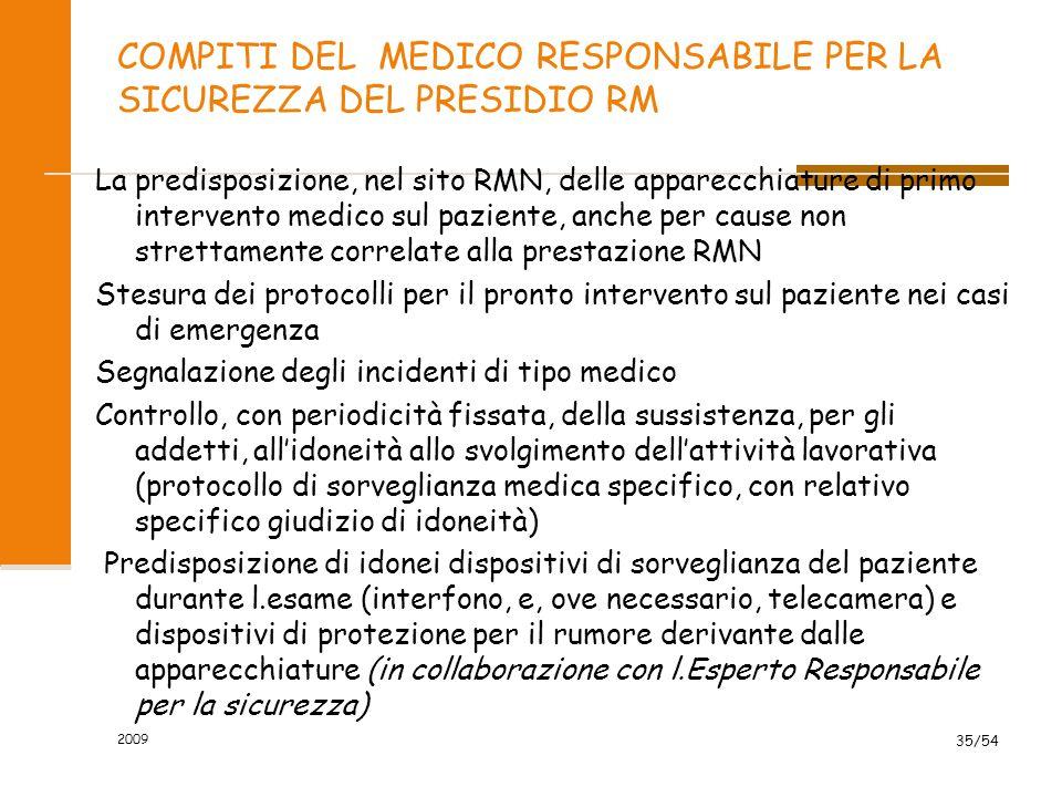 COMPITI DEL MEDICO RESPONSABILE PER LA SICUREZZA DEL PRESIDIO RM