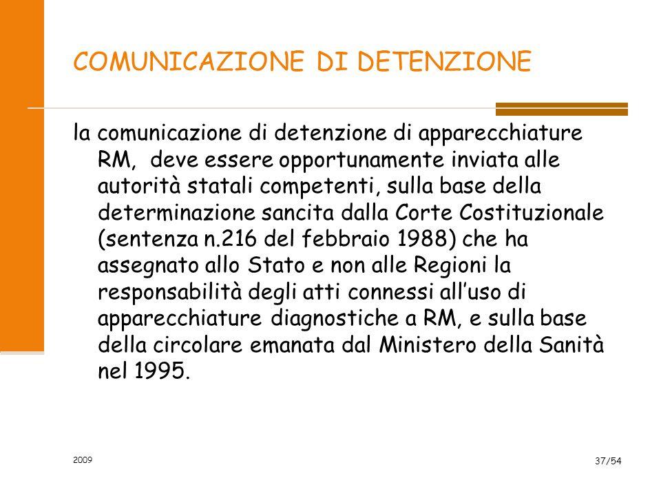 COMUNICAZIONE DI DETENZIONE